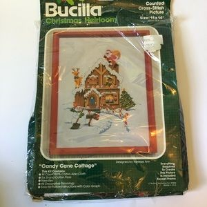 Bucilla Christmas Candy Cane Cottage Kit